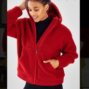Fabletics Fuzzy Red Zip Hoodie Lotta Cocoon